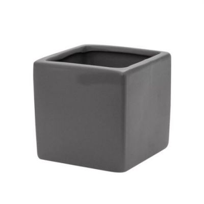 charcoal grey ceramic cube pot